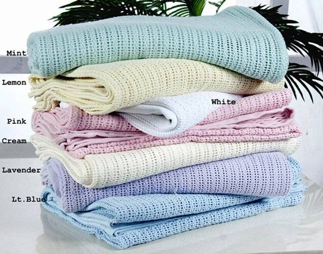 Luxury Hand Woven Light & Soft Cotton Adult Cellular Blanket Double-Mint