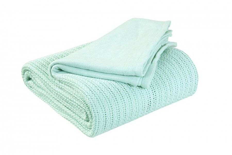 Luxury Handwoven Cotton Adult Cellular Blanket,  Double - Mint