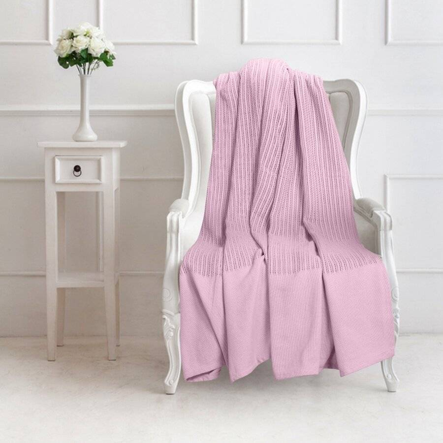 Luxury Handwoven Cotton Adult Cellular Blanket, Double - Pink