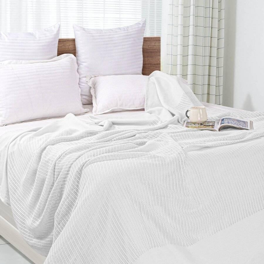 Luxury Handwoven Light & Soft Cotton Adult Cellular Blanket Double