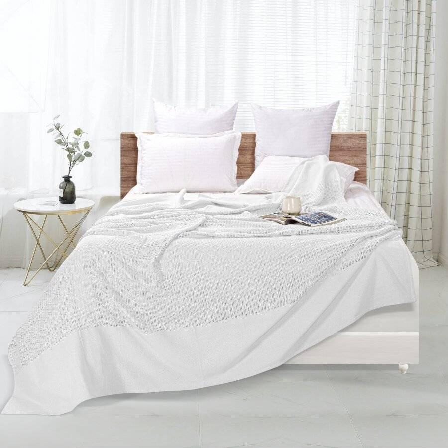 Luxury Handwoven Light & Soft Cotton Adult Cellular Blanket, White