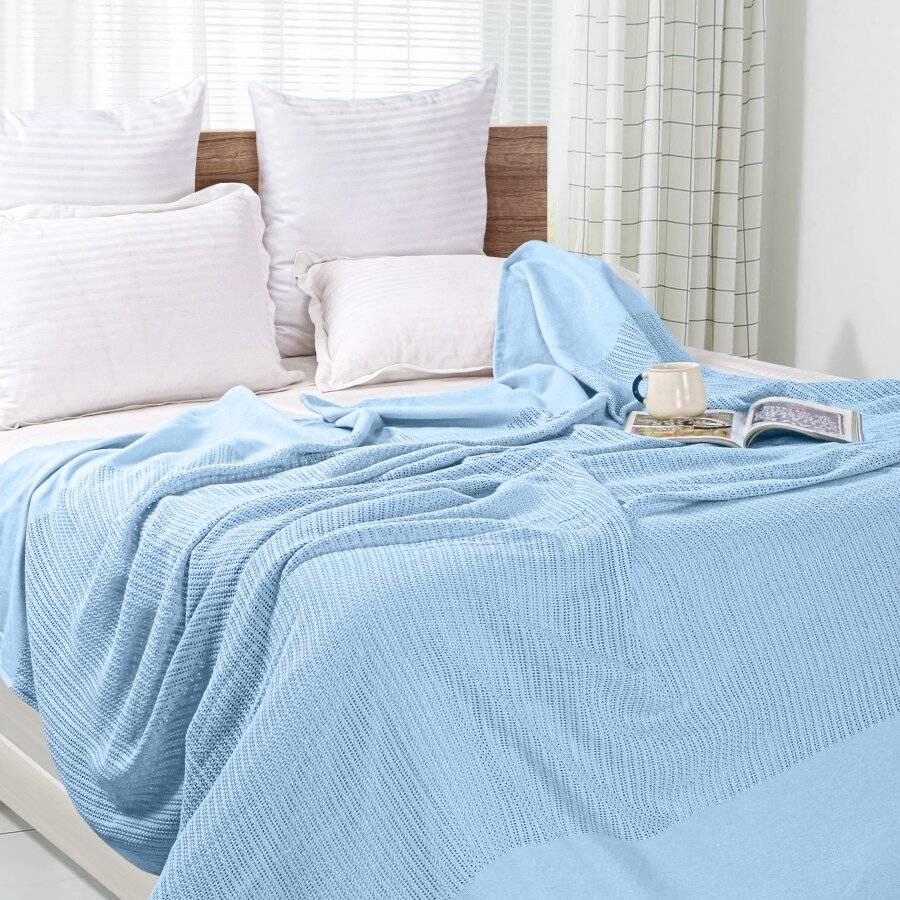Luxury Handwoven Cotton Adult Cellular Blanket,  King - Blue