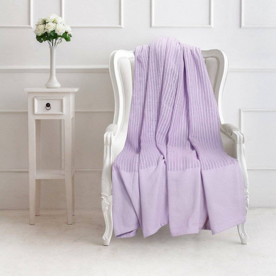 Luxury Handwoven Cotton Adult Cellular Blanket,  King - Lavender