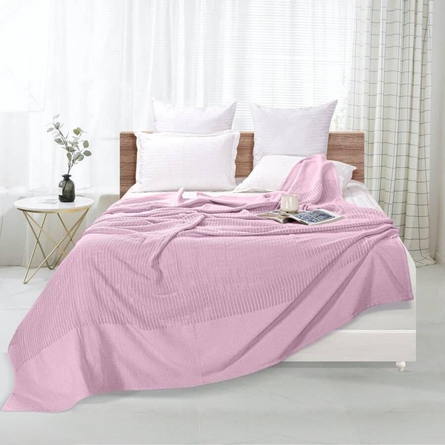 Luxury Handwoven Cotton Adult Cellular Blanket,  King - Pink