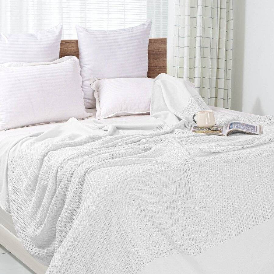 Luxury Hand Woven Light & Soft Cotton Adult Cellular Blanket King-White