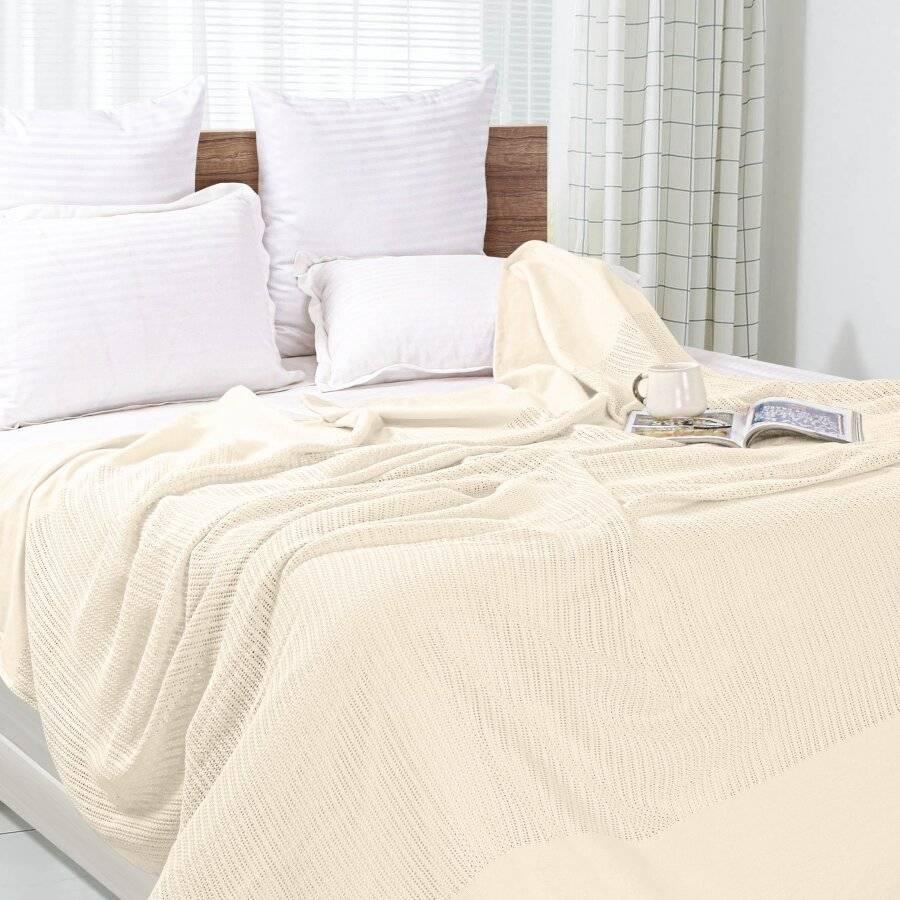 Luxury Hand Woven Light & Soft Cotton Adult Cellular Blanket Single-Cream