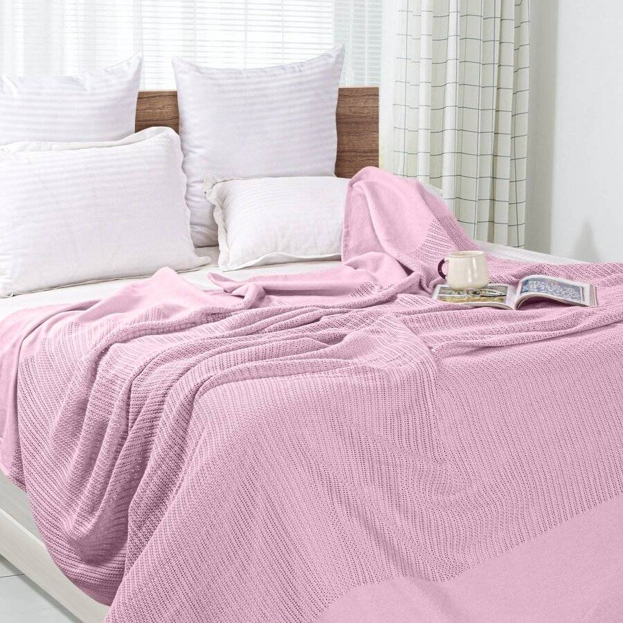 Luxury Hand Woven Light & Soft Cotton Adult Cellular Blanket Single-Pink