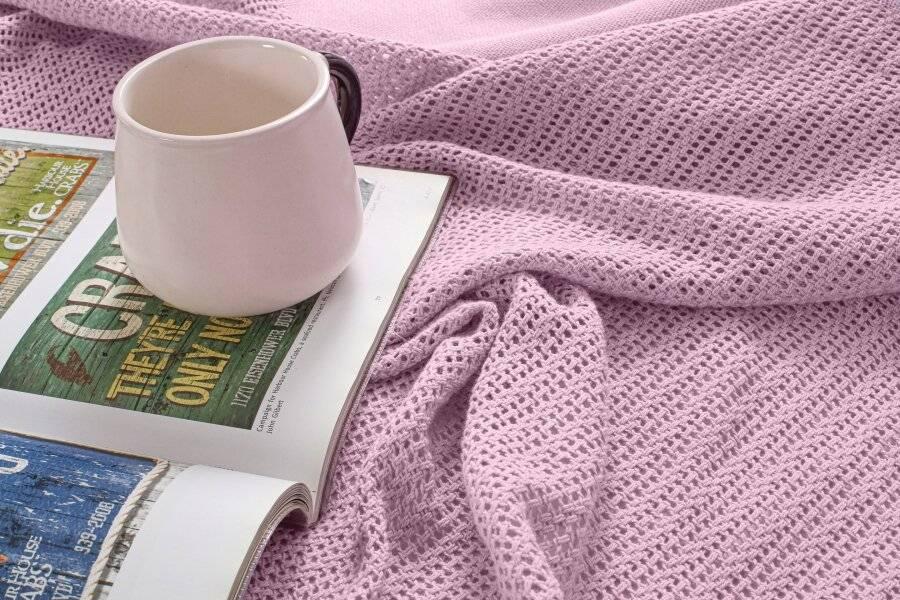 Luxury Handwoven Cotton Adult Cellular Blanket,  Single - Pink