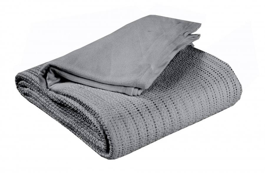 Luxury Hand Woven Light & Soft Cotton Adult Cellular Blanket Single-Smoke