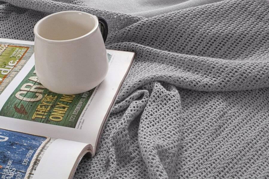 Luxury Handwoven Cotton Adult Cellular Blanket,  Single - Smoke
