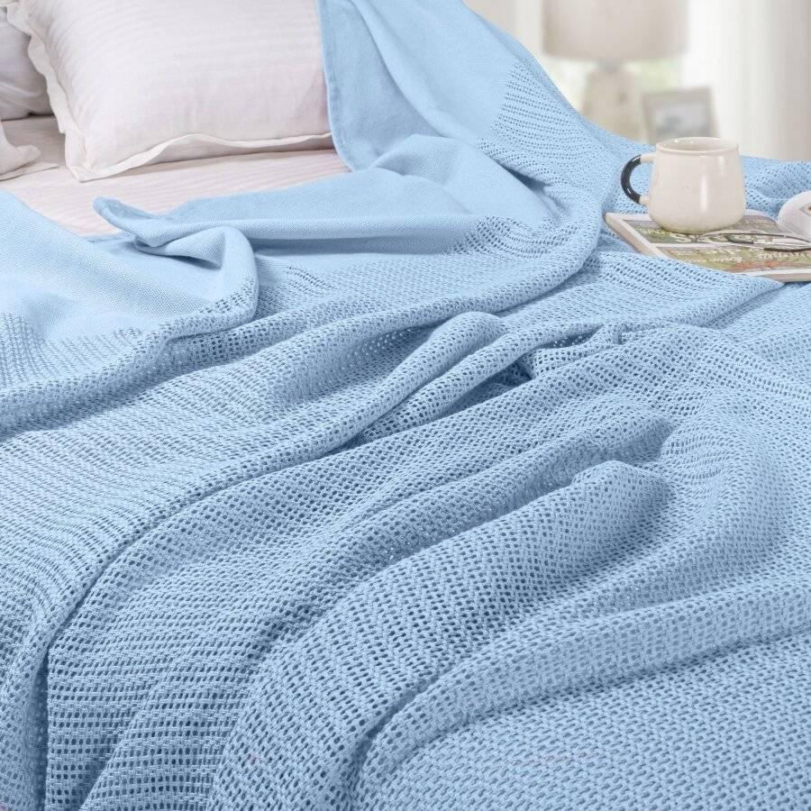 Luxury Handwoven Cotton Giant Adult Cellular Blanket - Light Blue
