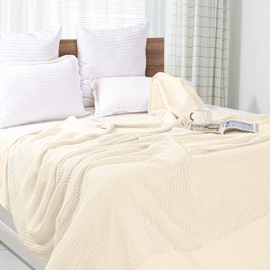 Luxury Handwoven Cotton Giant Adult Cellular Blanket- Cream