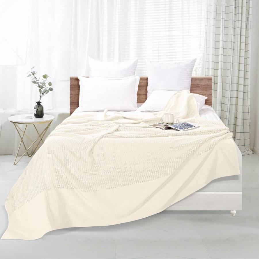 Luxury Handwoven Cotton Giant Adult Cellular Blanket - Cream