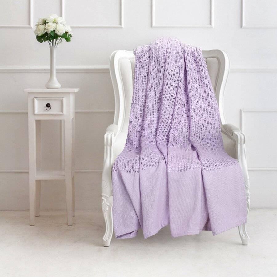 Luxury Handwoven Cotton Giant Adult Cellular Blanket - Lavender