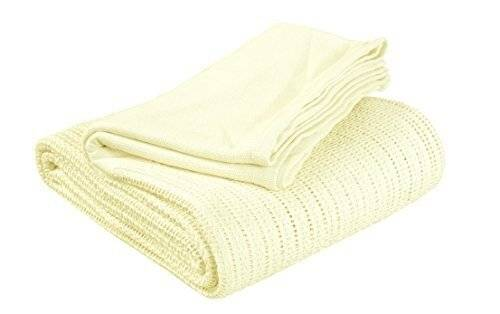 Luxury Hand Woven Light & Soft Cotton Gaint Adult Cellular Blanket -Lemon