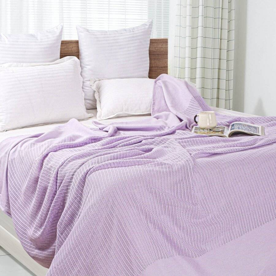 Luxury Hand Woven Soft Cotton Adult Cellular Blanket Double-Lavender