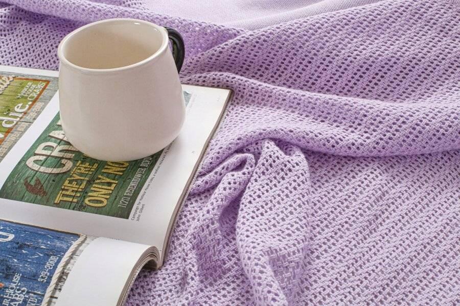 Luxury Handwoven Soft Cotton Adult Cellular Blanket Double - Lavender