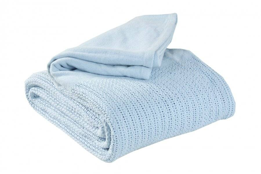 Luxury Hand Woven Cotton Adult Cellular Blanket, Single - Light Blue