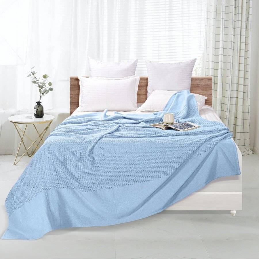 Luxury Hand Woven Cotton Adult Cellular Blanket, Single - Light Blue