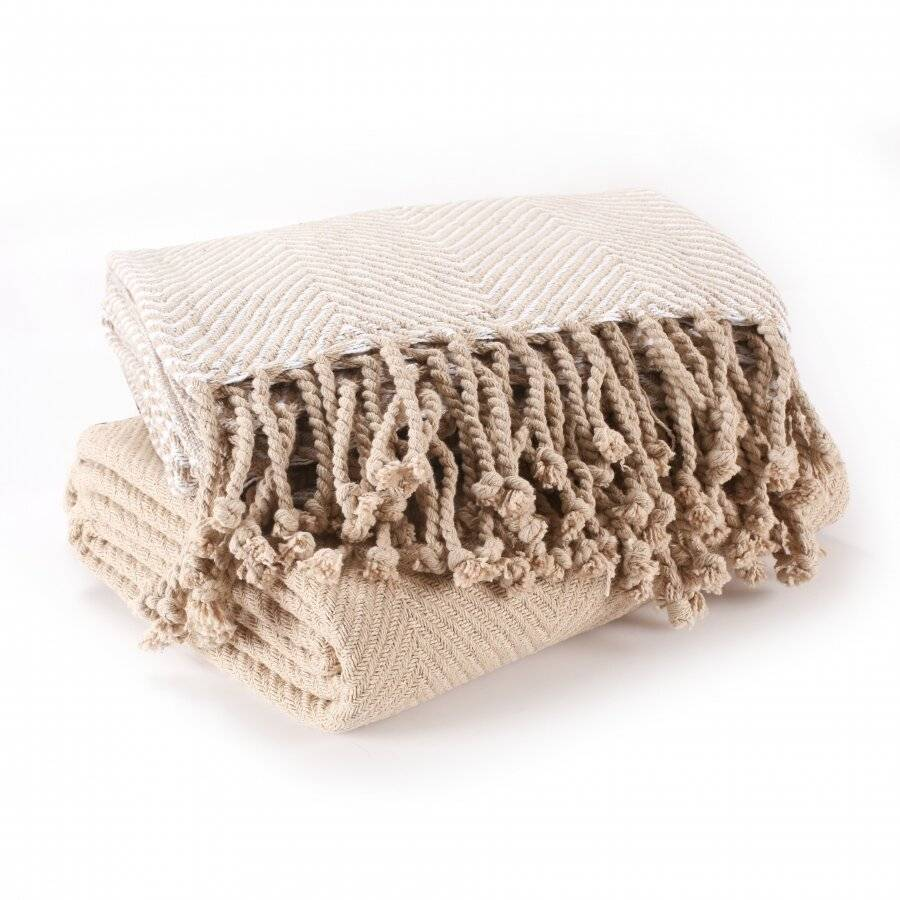 EHC Pack of 2 Chevron Cotton Single Sofa Throw, 125 x 150 cm - Beige