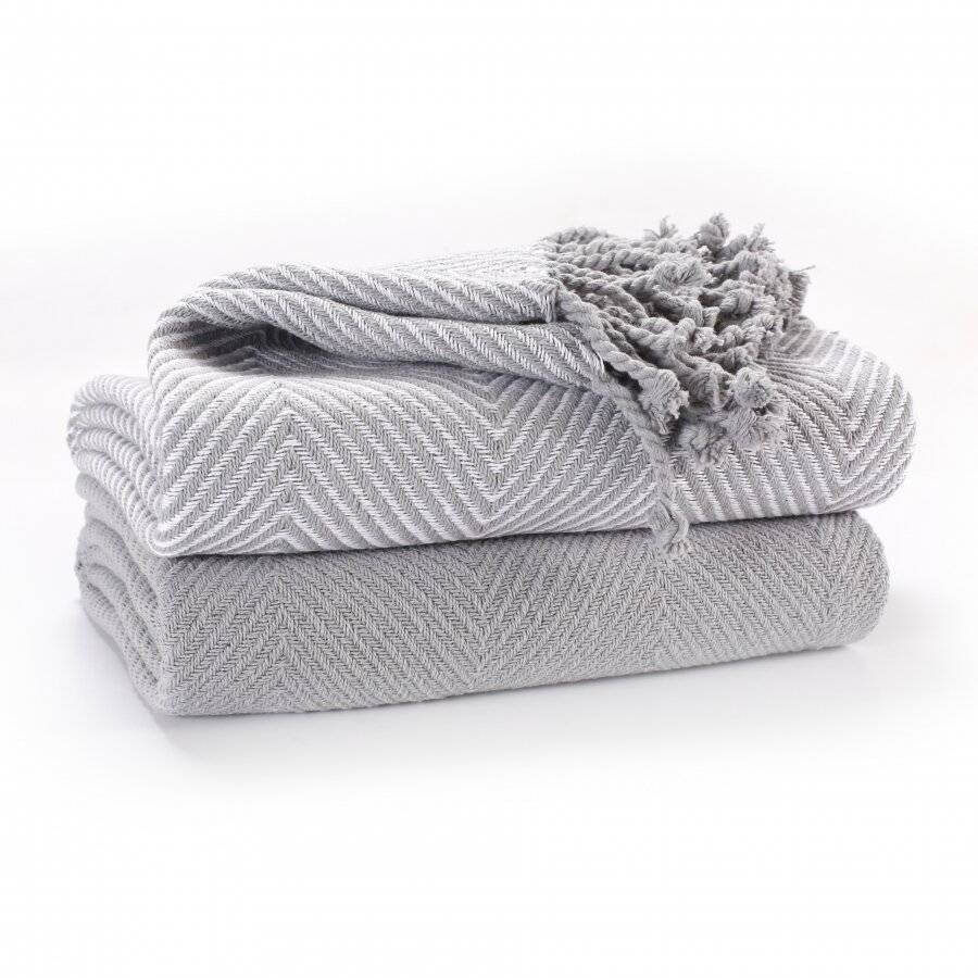 Luxury Pack of 2 Chevron Cotton Single Sofa Throw , 125x 150cms - Grey
