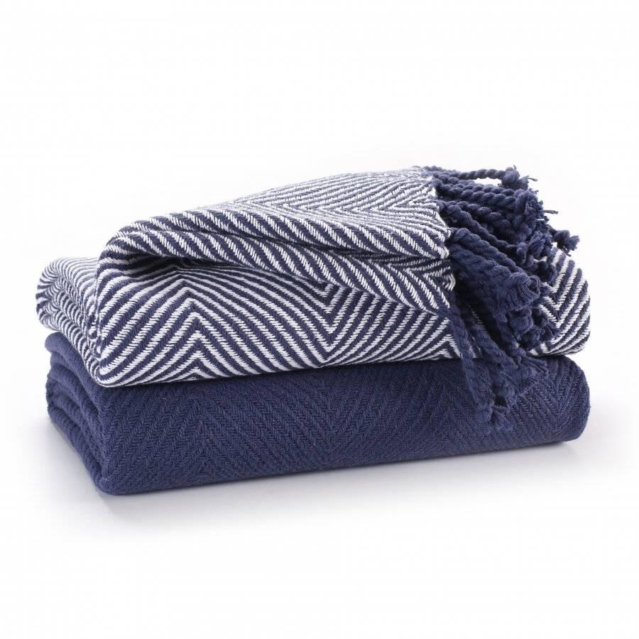 Pack of 2 Chevron Cotton Single Sofa Throw, 125 x 150 cm - Navy Blue