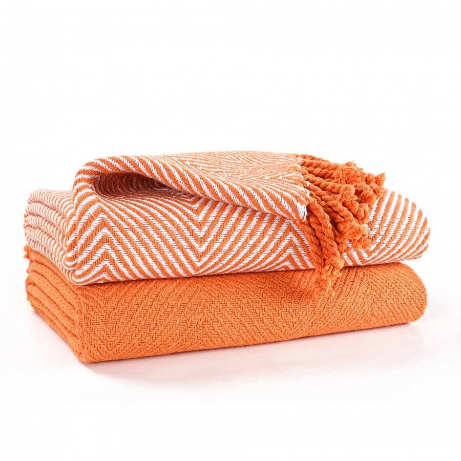 EHC Pack of 2 Chevron Cotton Single Sofa Throw, 125 x 150 cm - Orange