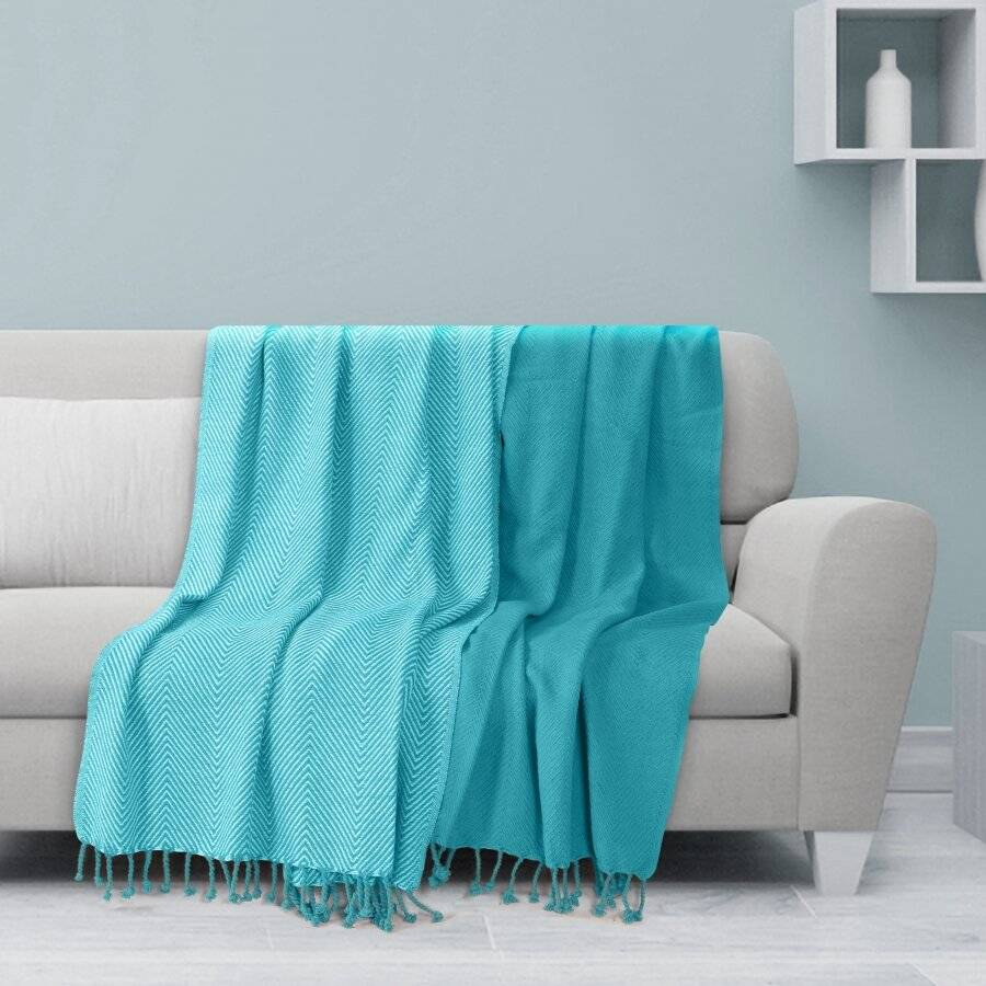 Luxury Pack of 2 Chevron Cotton Single Sofa Throw, 125 x 150 cm - Teal