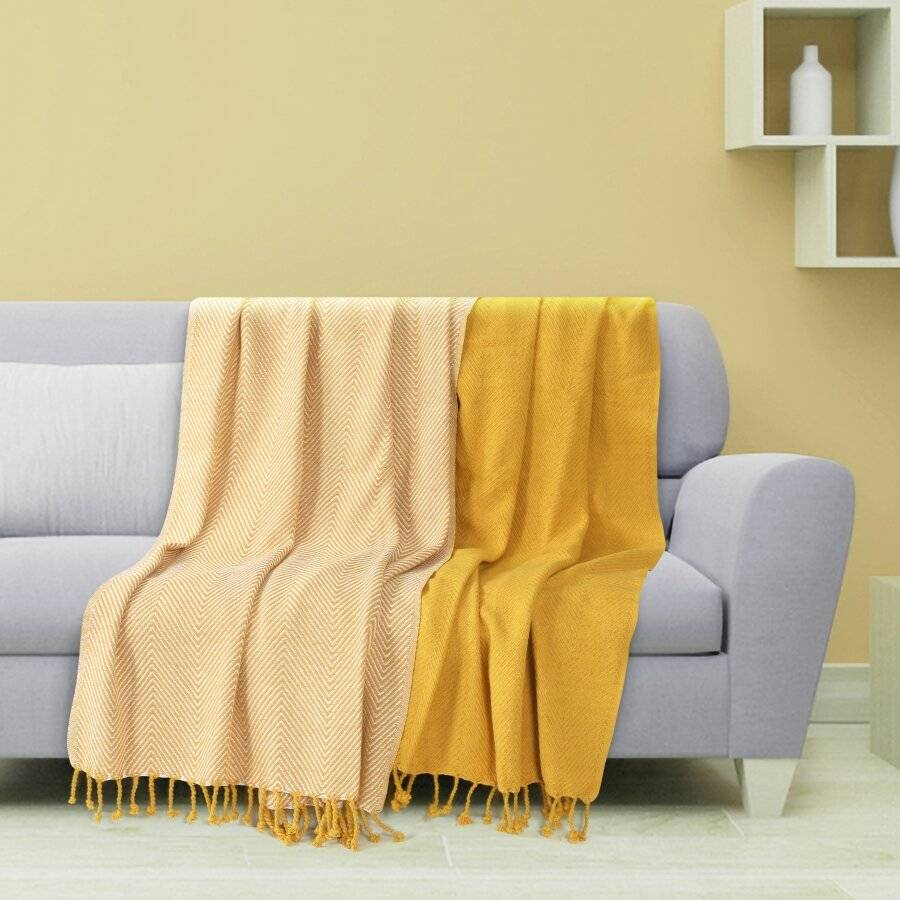 Luxury Pack of 2 Chevron Cotton Single Sofa Throw,125x 150cms - Yellow