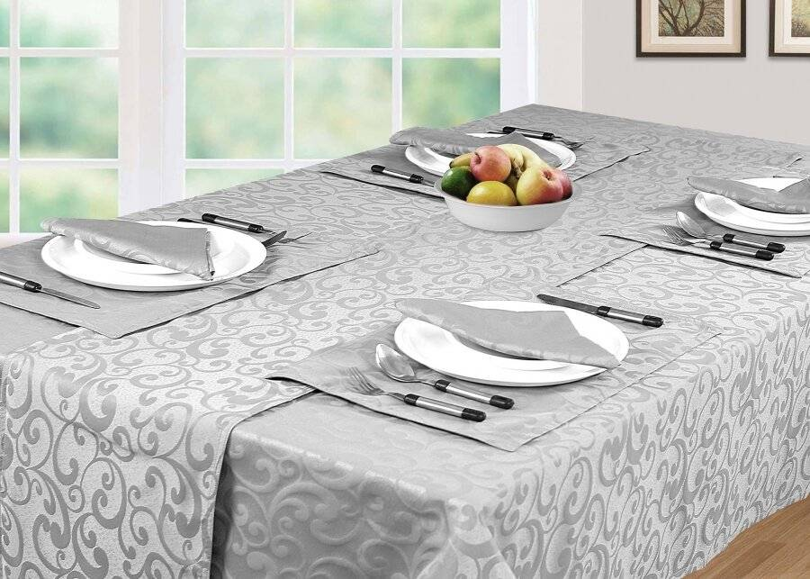 Luxury Rectangle Scroll Tablecloth Cover, For Parties & Wedding, Smoke