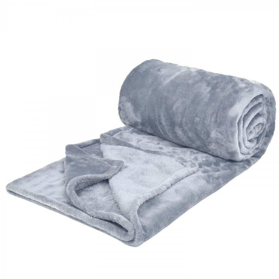Luxury Soft & Fluffy XL Flannel Throw, Light Grey 200 cm x 240 cm