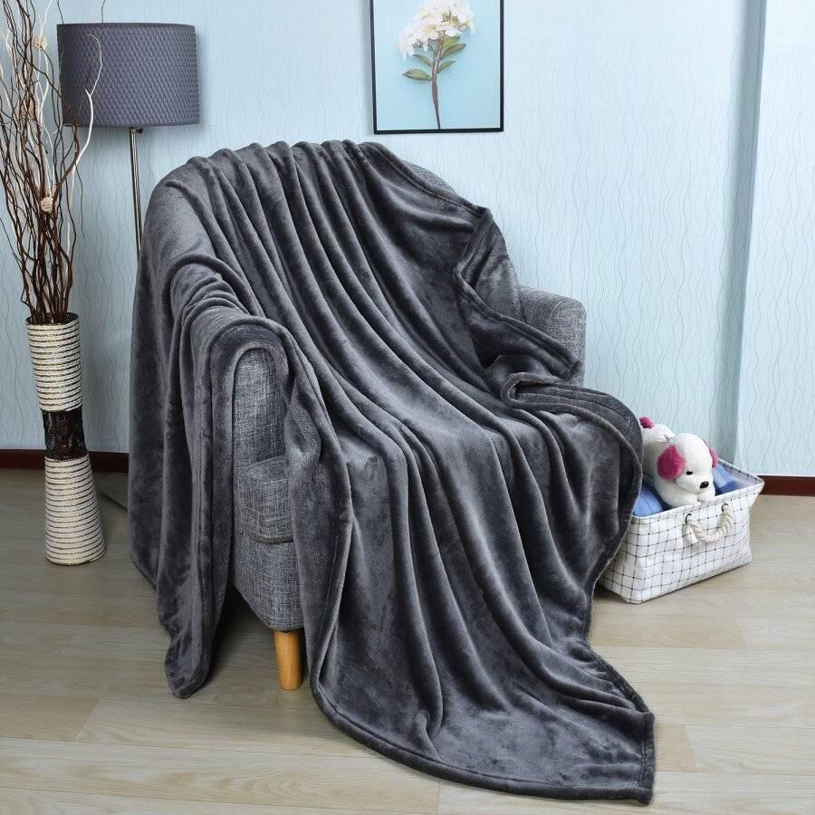 EHC Super Soft Fluffy Flannel Fleece Throws , Grey 150 cm x 200 cm