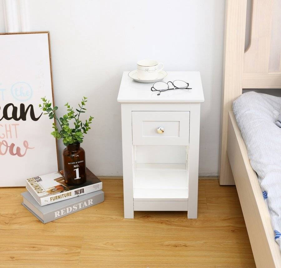 MDF Bedside Table With Drawer and Shelf Cabinet Storage-White