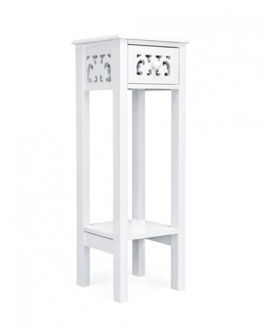 MDF Provence Fretwork  French Inspired Bedside Table - White
