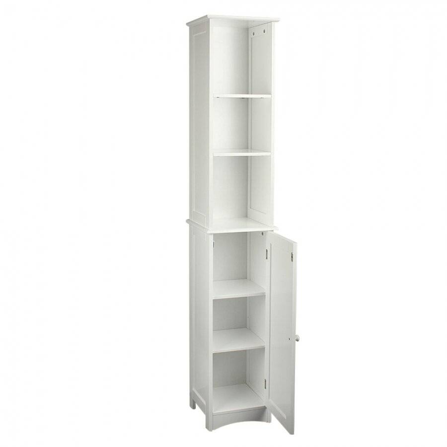 MDF Slimline Tall Boy Storage Cabinet With 1 Cupboard & 3 Shelves