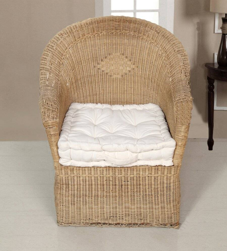 Medium Quilted Booster Cushions/ Chair Pad 40 x 40 x 10cm - Cream
