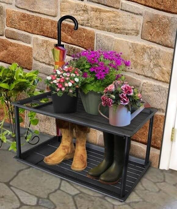 Multi Purpose 2 Tier Boot Tray With Umbrella Drip Stand