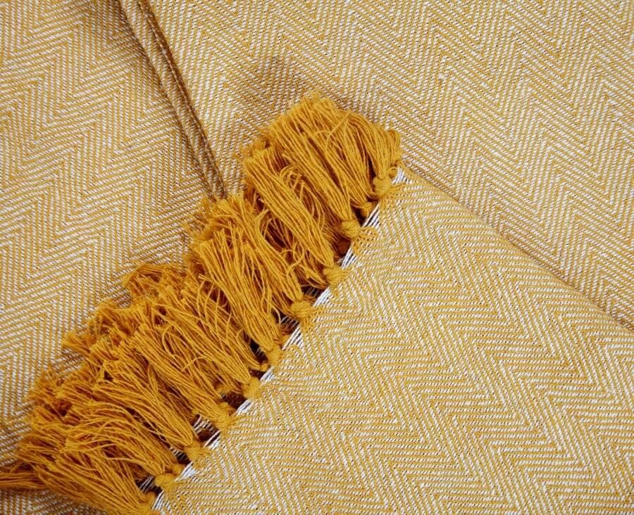 Natural Cotton  Herringbone Sofa Single Throw, Yellow - 150 x 200cm
