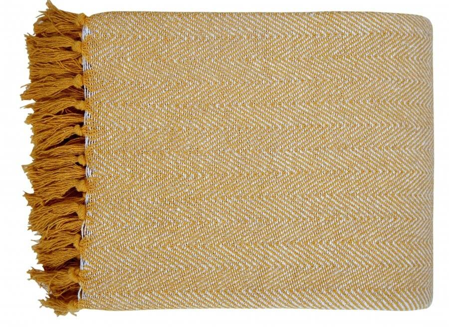 Natural Cotton Herringbone Super King Throw, Yellow - 250 cm x 380 cm