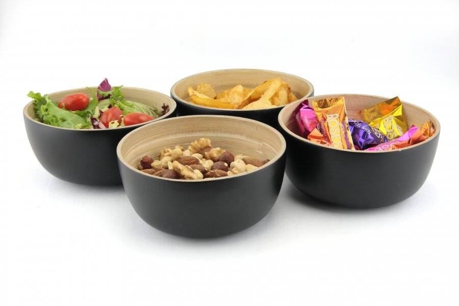 Pack Of 4 Food-Safe Decorative Premium Bamboo Snack Bowl-Black