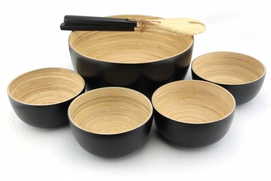 Pack of 4 Food-Safe Decorative Premium Bamboo Snack Bowl - Black