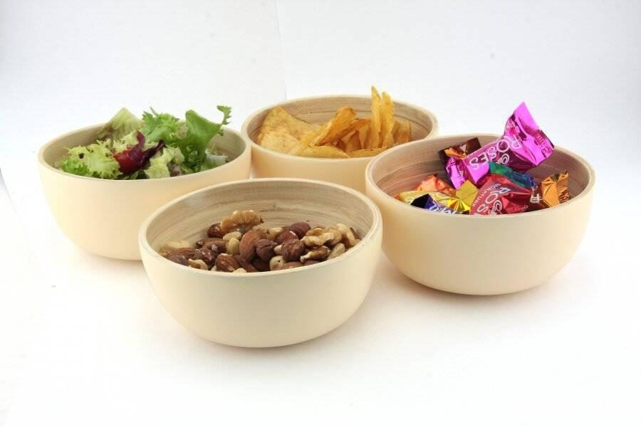 Pack Of 4 Food-Safe Decorative Premium Bamboo Snack Bowl- Cream