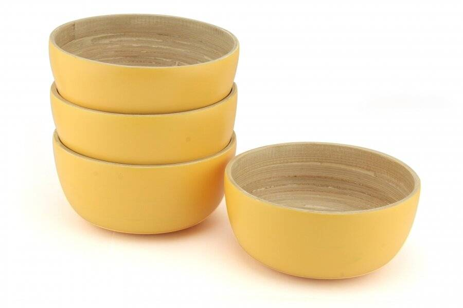 Pack of 4 Food-Safe Decorative Premium Bamboo Snack Bowl - Custard