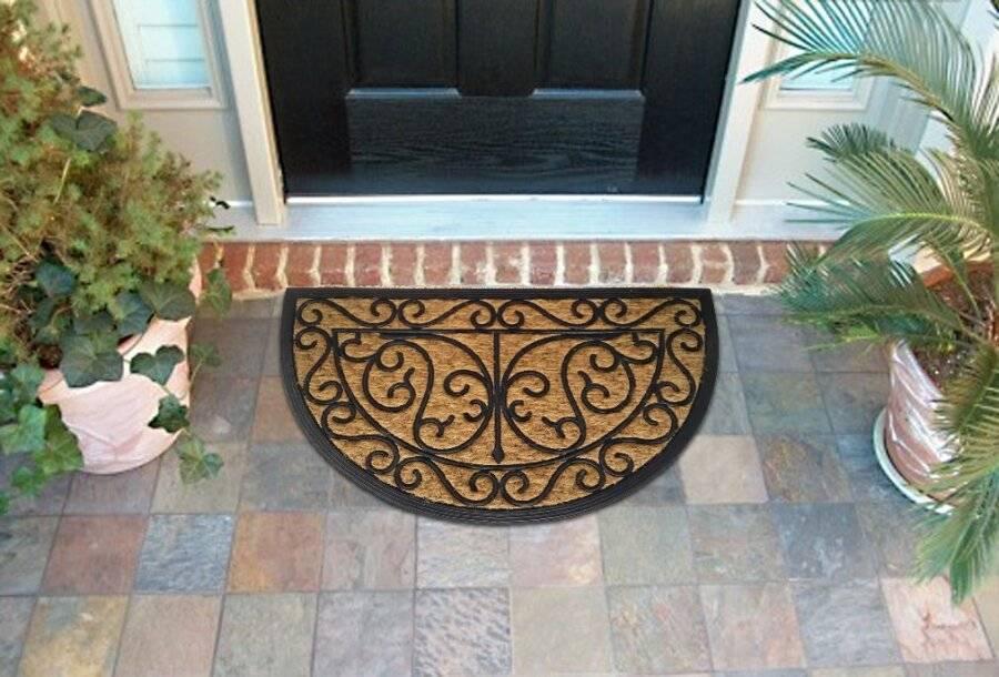 Coir Rubber Indoor Outdoor Door Mat, Half Moon Outdoor Mats