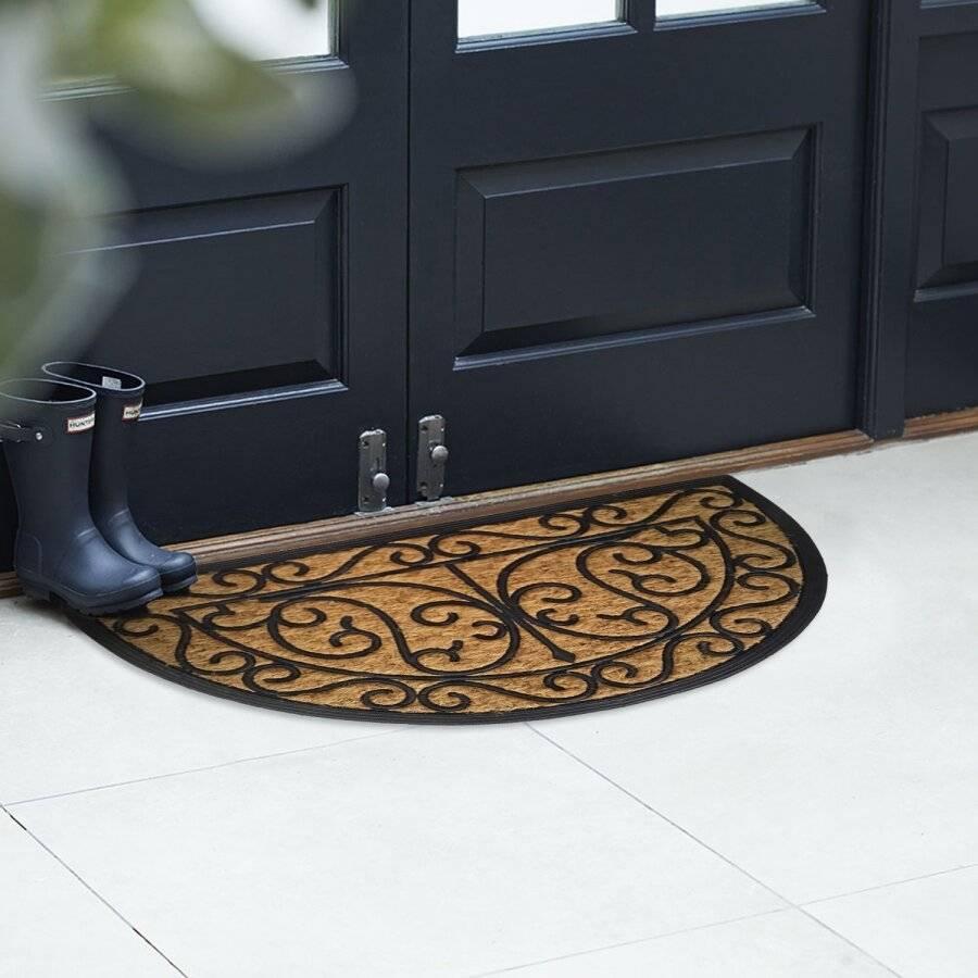 Panama Half Moon Coir & Rubber Indoor & Outdoor Non-Slip Door Mat