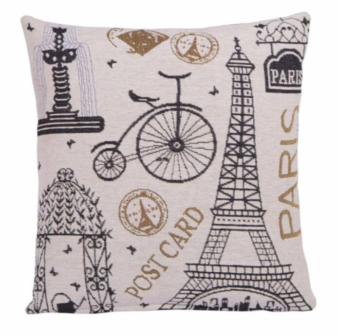 Parisian Theme Cushion Cover With Gold Details - 45 cm x 45 cm