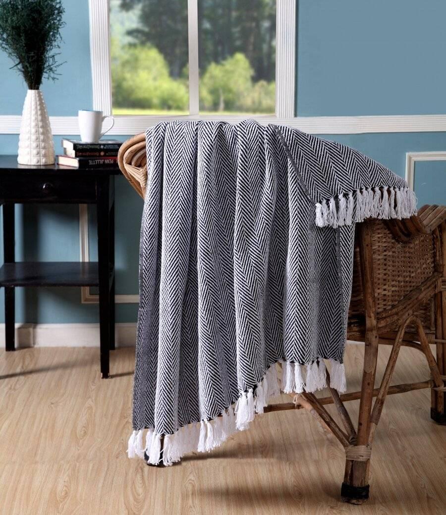 Throw for Sofa Armchair Or Single Bed-Black|Elite Housewares
