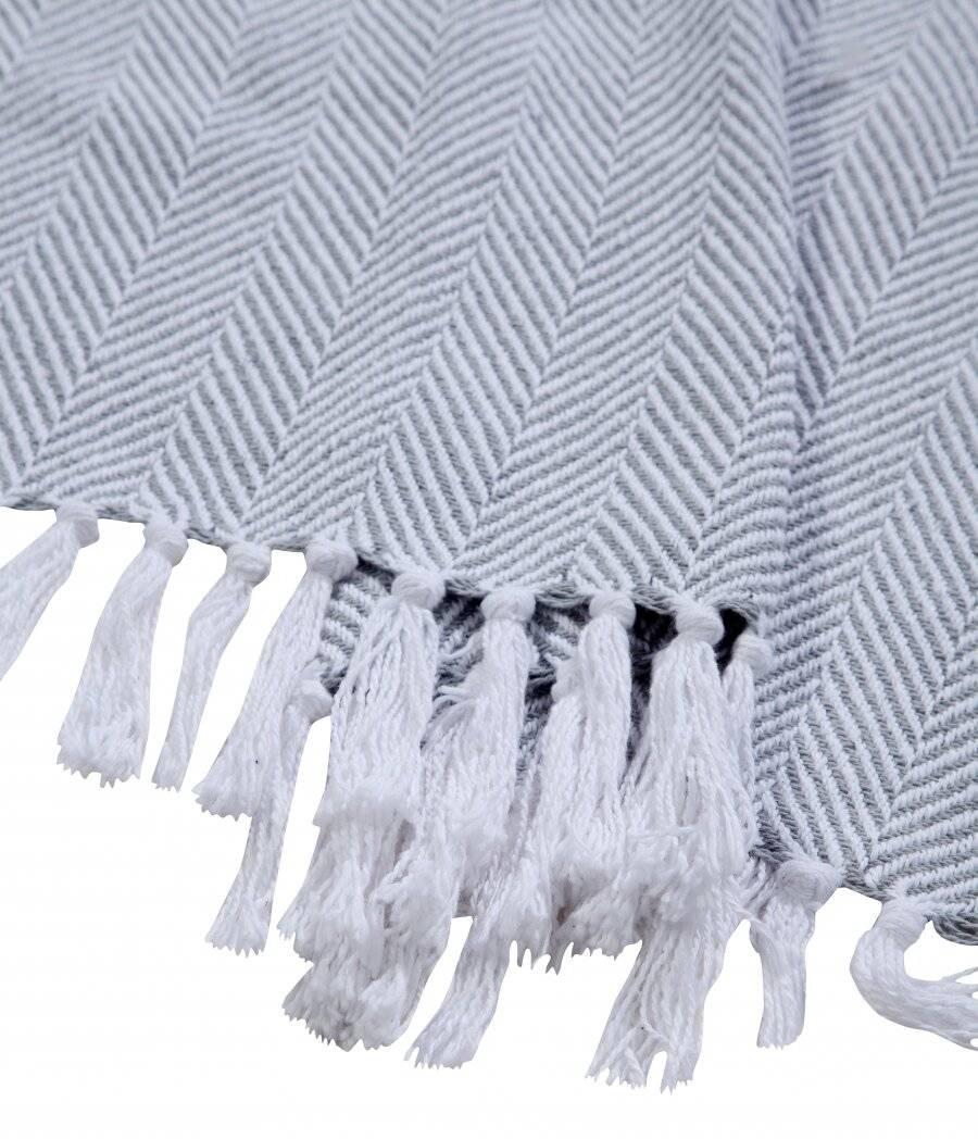 EHC Herringbone Throws For Sofa Armchair or Single Bed - Grey