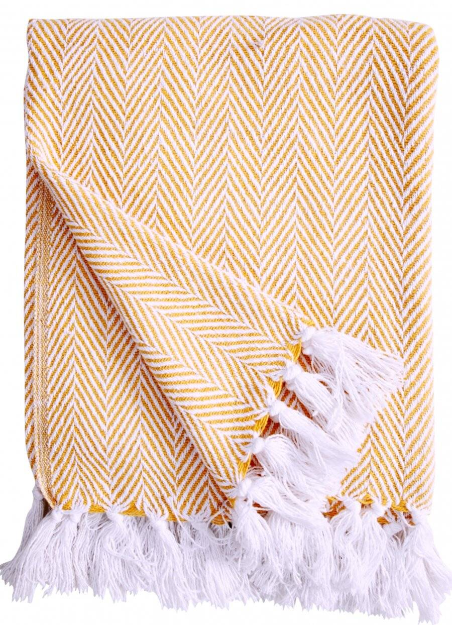 EHC Herringbone Throws For Sofa Armchair or Single Bed - Yellow