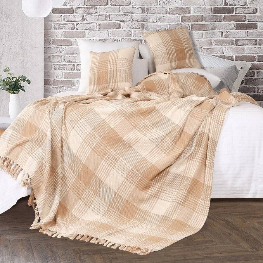Premium Reversible Extra Large Cotton Tartan Throw for Sofa/Armchair-Beige